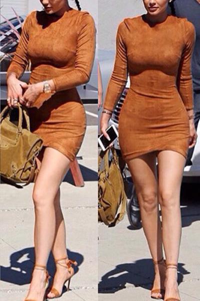 Fashion O Neck Long Sleeves Brown Sheath Mini Wome