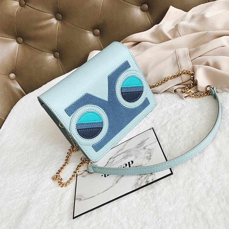 Fashion Patchwork Blue PU Crossbody Bags