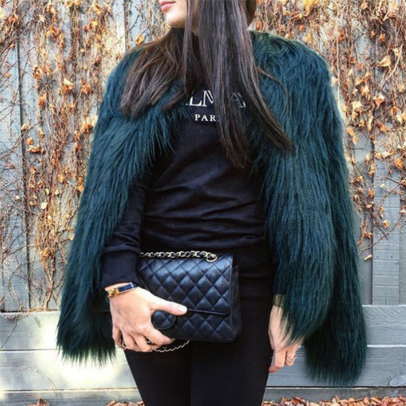 Fashionable Round Neck Long Sleeves Green Faux Fur
