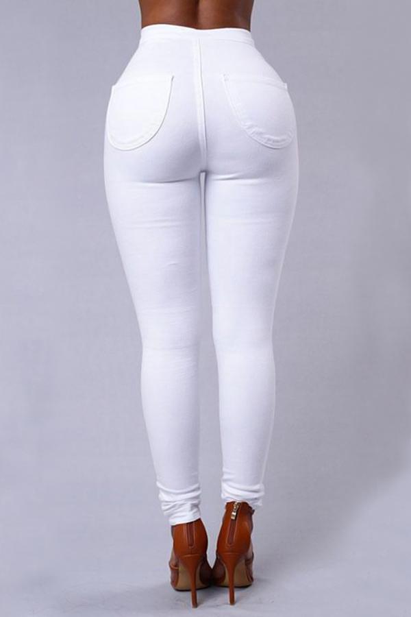 Euramerican High Waist Zipper Design White Denim P