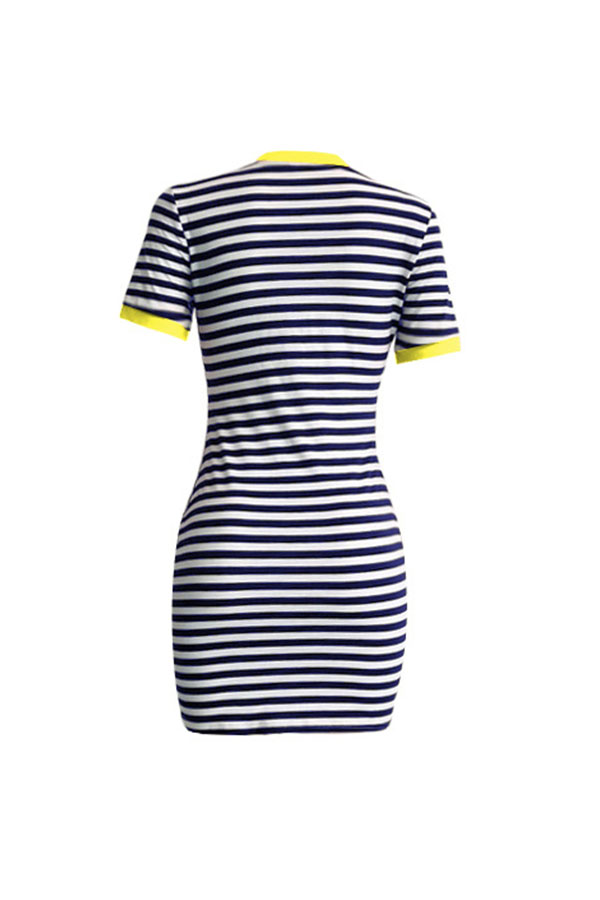 Lovely Casual O Neck Striped Patchwork Yellow Mini