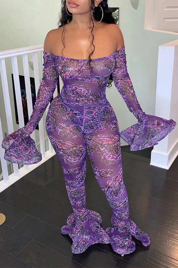 Lovely Sexy Dew Shoulder Purple One-piece Jumpsuit
