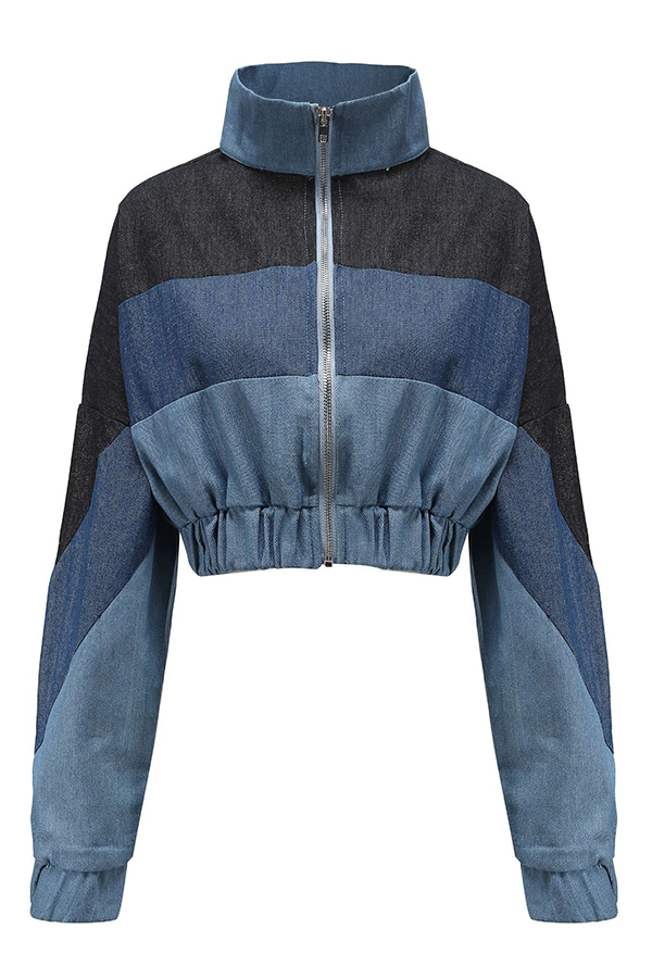 Lovely Casual Color-lump Blue Jacket