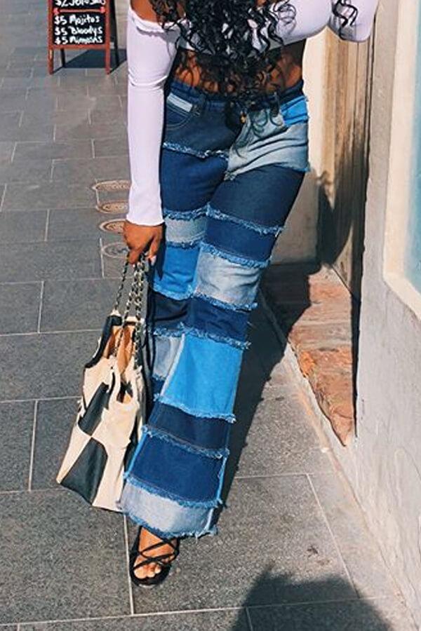 Lovely Stylish Patchwork Blue Jeans