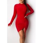 Lovely Trendy O Neck Drawstring Red Mini Dress