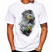 Men Lovely Casual Print Multicolor T-shirt