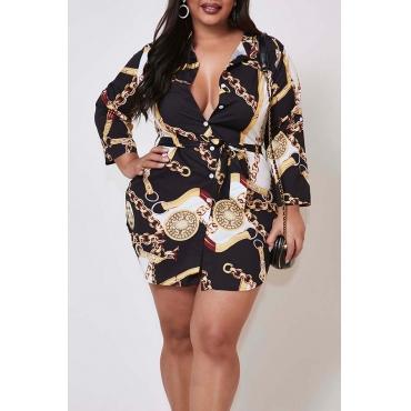 Lovely Casual Print Gold Mini Plus Size Dress