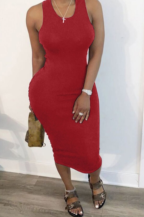 Lovely Leisure Hollow-out Red Mid Calf Dress