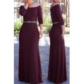 Lovely Bohemian Dew Shoulder Wine Red Maxi Dress