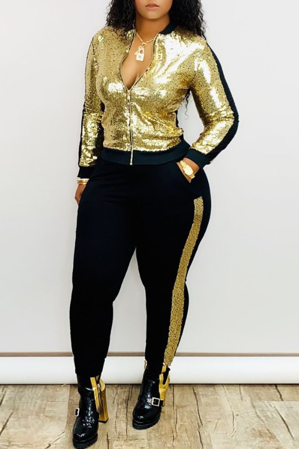 Lovely Casual Patchwork Gold Plus Size Two-piece P
