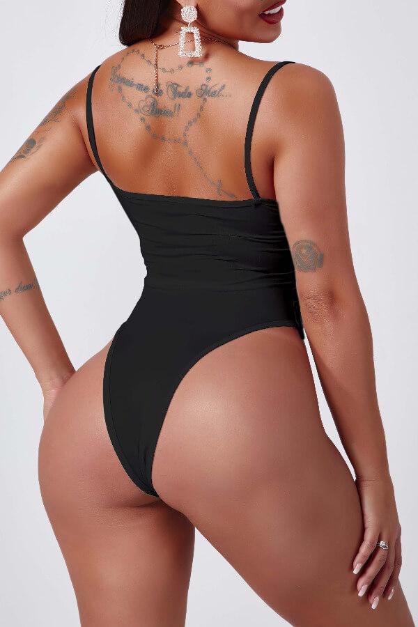 Lovely Trendy Print Black Bodysuit
