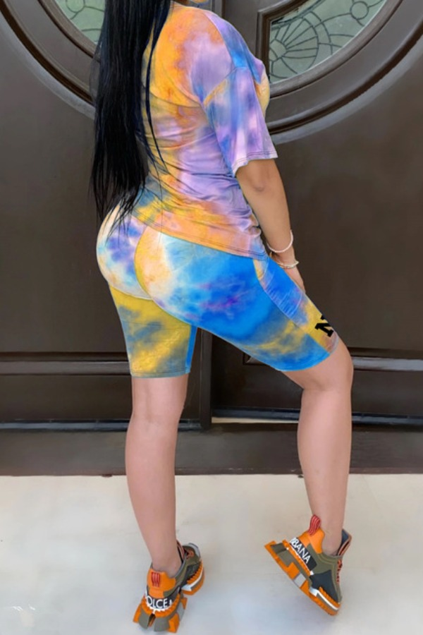 lovely Casual O Neck Tie-dye Blue Plus Size Two-pi