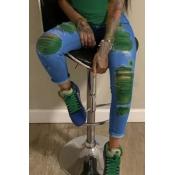 Lovely Stylish Broken Holes Blackish Green Jeans