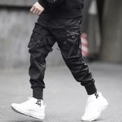 Men Lovely Trendy Pocket Patched Black Pants