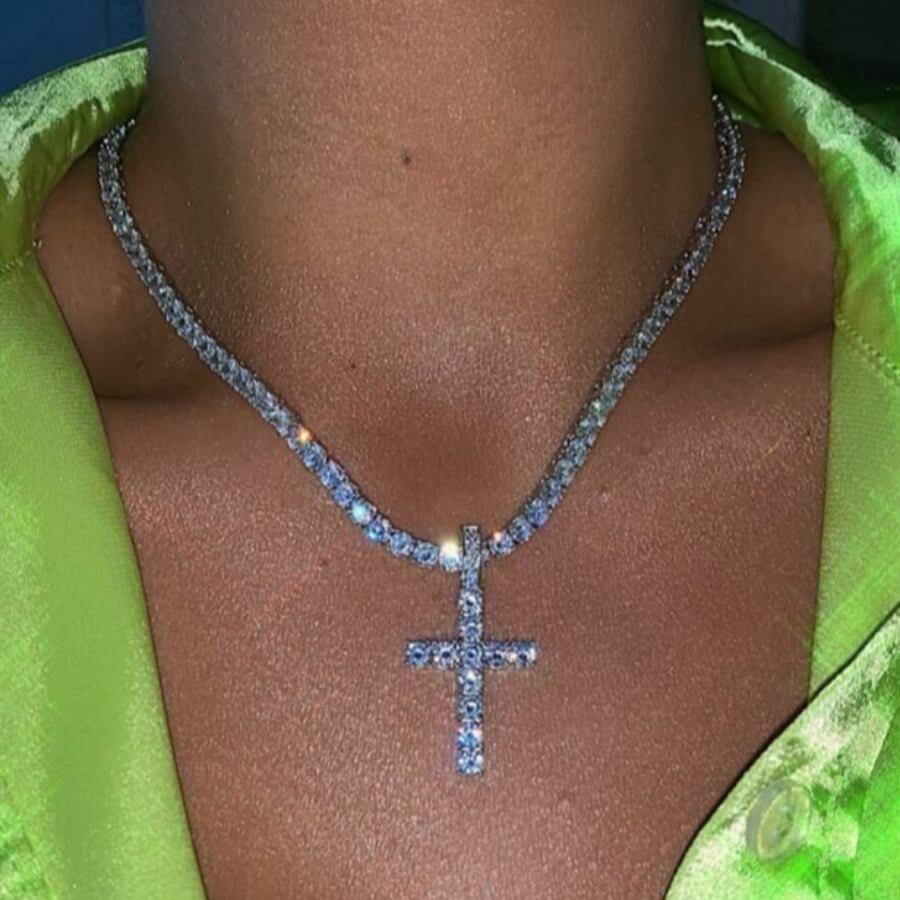 Lovely Stylish Cross Silver Necklace