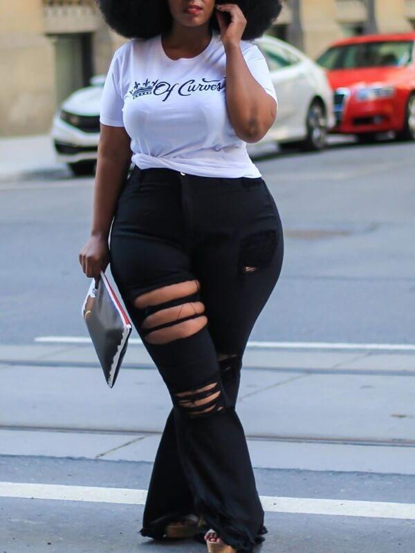 Lovely Plus Size Street Broken Holes Black Jeans