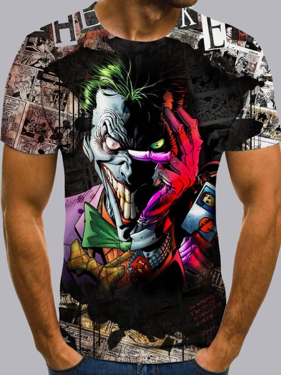 Lovely Men Street O Neck Clown Print Multicolor T-