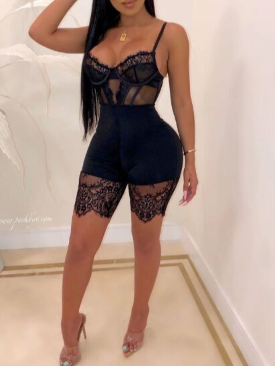 Lovely Sexy Lace See-through Black Sleepwear