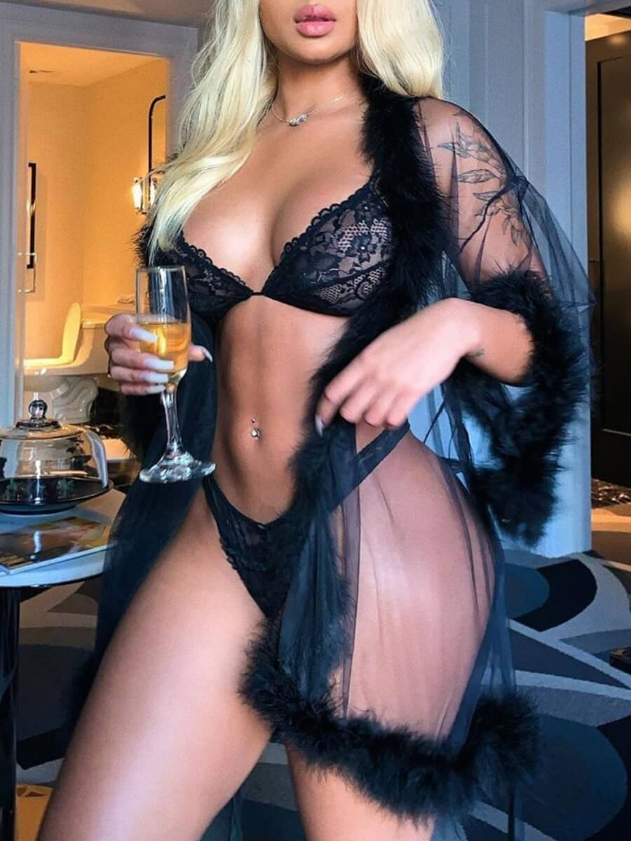 Lovely Sexy See-through Black Sleepwear(Without Br