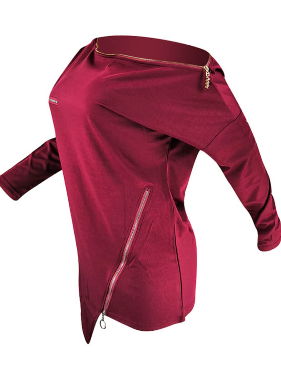 Lovely Casual Zipper Design Asymmetrical Wine Red