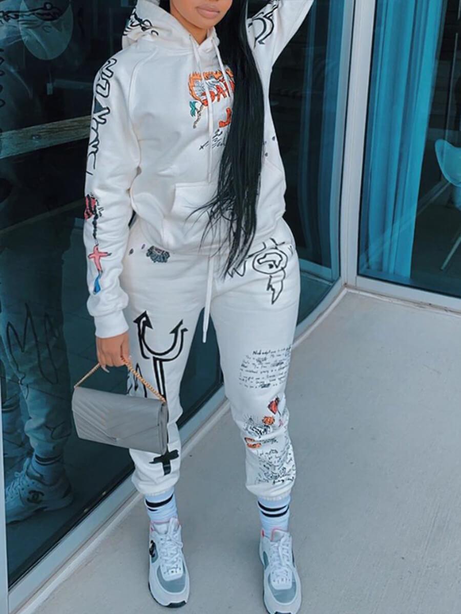 Lovely Sportswear Hooded Collar Print White Plus S