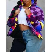 Lovely Sportswear Hooded Collar Camo Print Purple