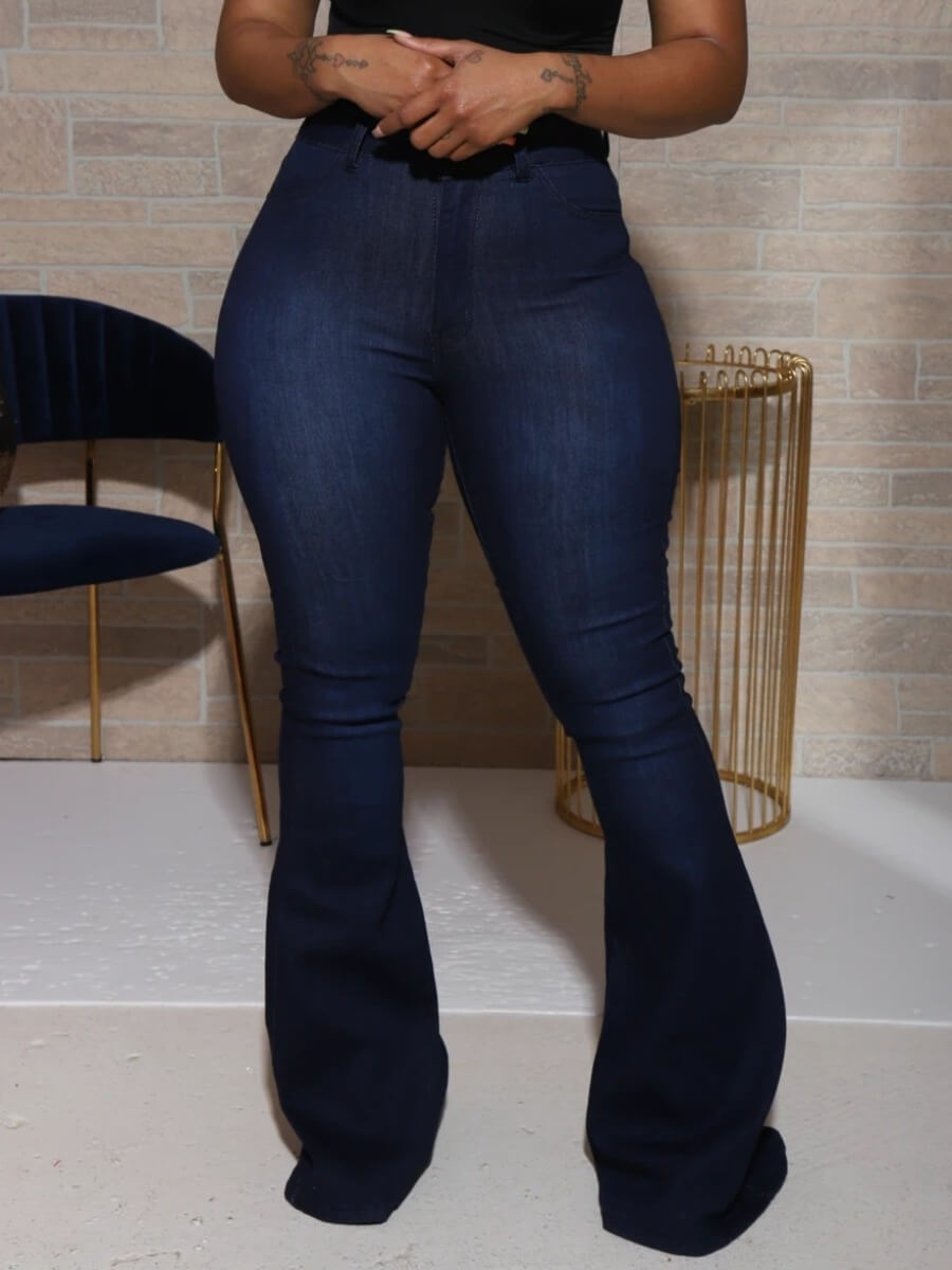 Lovely Casual Basic Deep Blue Jeans