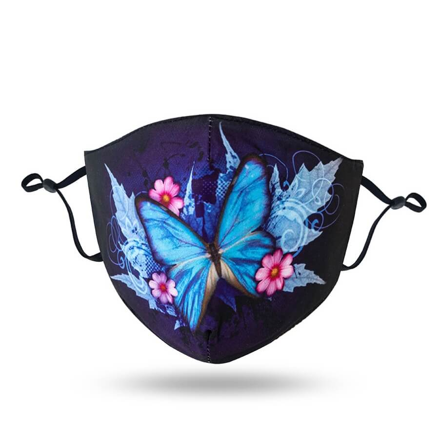 Lovely Butterfly Print Blue Face Mask
