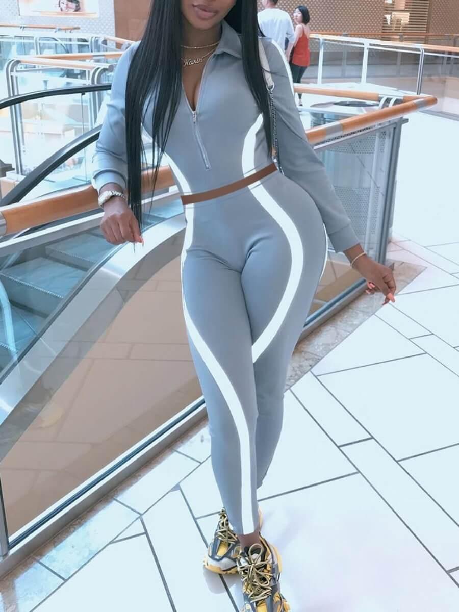 Lovely Sportswear Patchwork Zipper Design Grey Two
