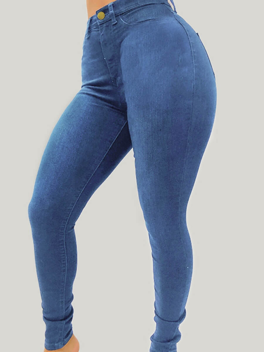 Lovely Casual Basic Skinny Baby Blue Jeans