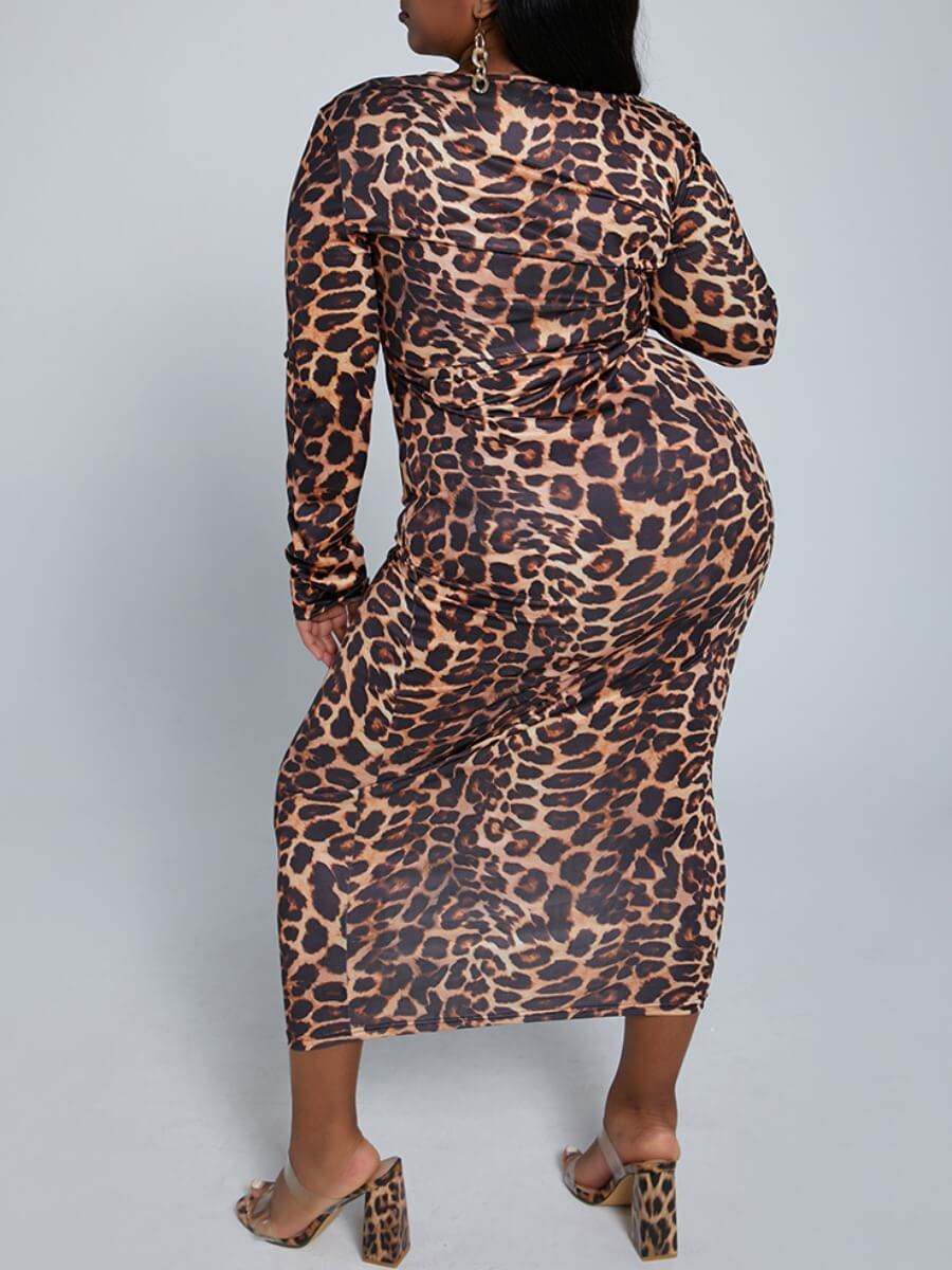 Lovely Casual O Neck Leopard Print Knee Length Plu