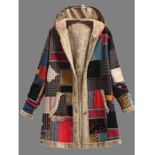 Lovely Trendy Hooded Collar Print Red Long Plus Si