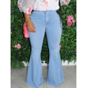 Lovely Casual Flared Blue Plus Size Jeans