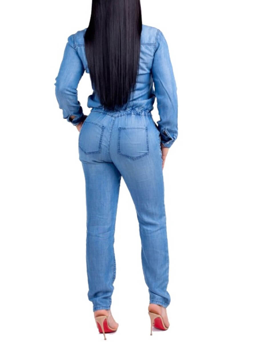 Lovely Stylish Buttons Design Blue Denim One-piece