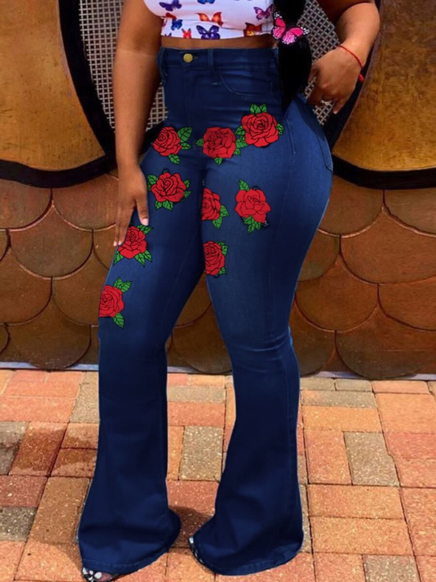 Lovely Street High-waisted Rose Embroidered Deep B