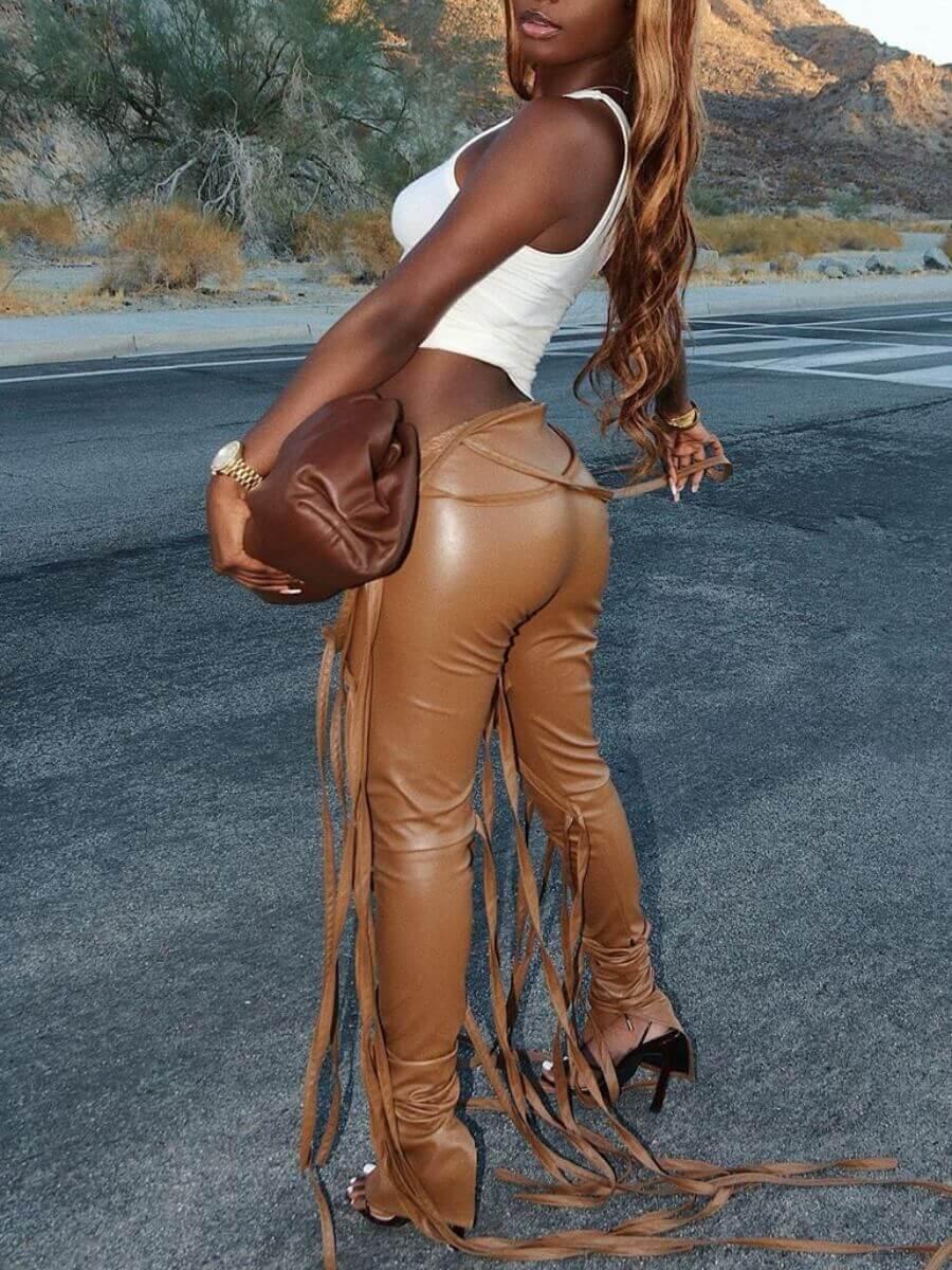 Lovely Stylish Lace-up Khaki Pants