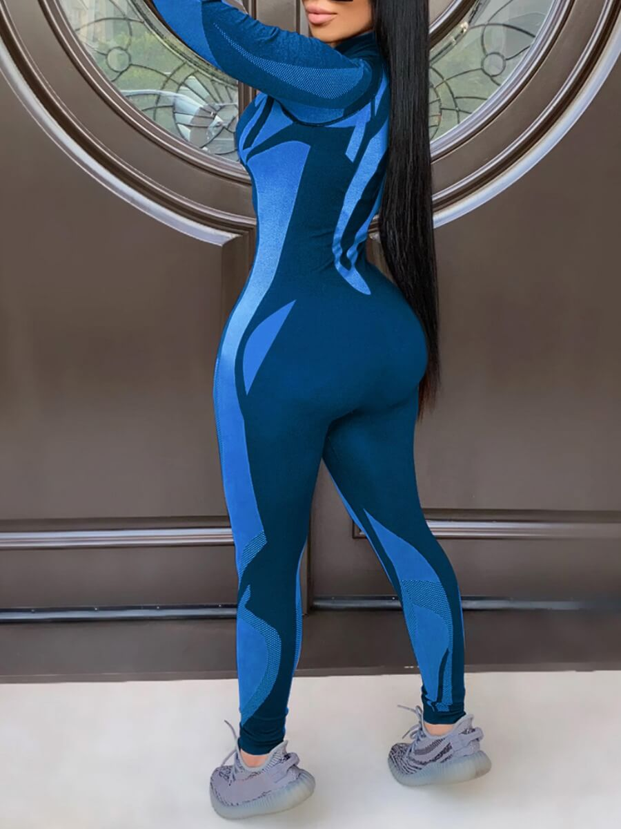 Lovely Sportswear Zipper Design Patchwork Blue One