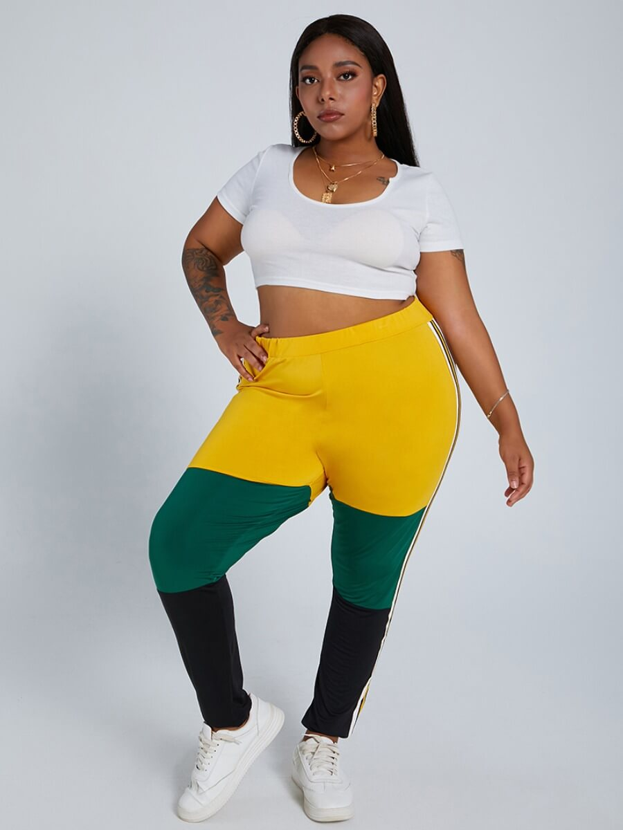 Lovely Casual Patchwork Yellow Plus Size Pants