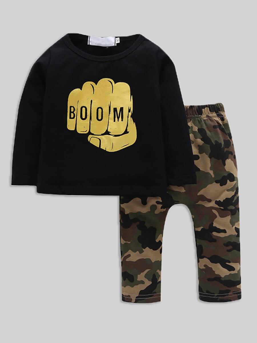 Lovely Boy Sportswear Hooded Collar Camo Print Gre