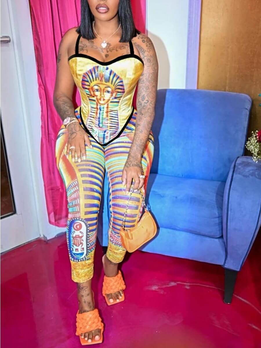 LW SXY Figure Print Striped Cami Jumpsuit