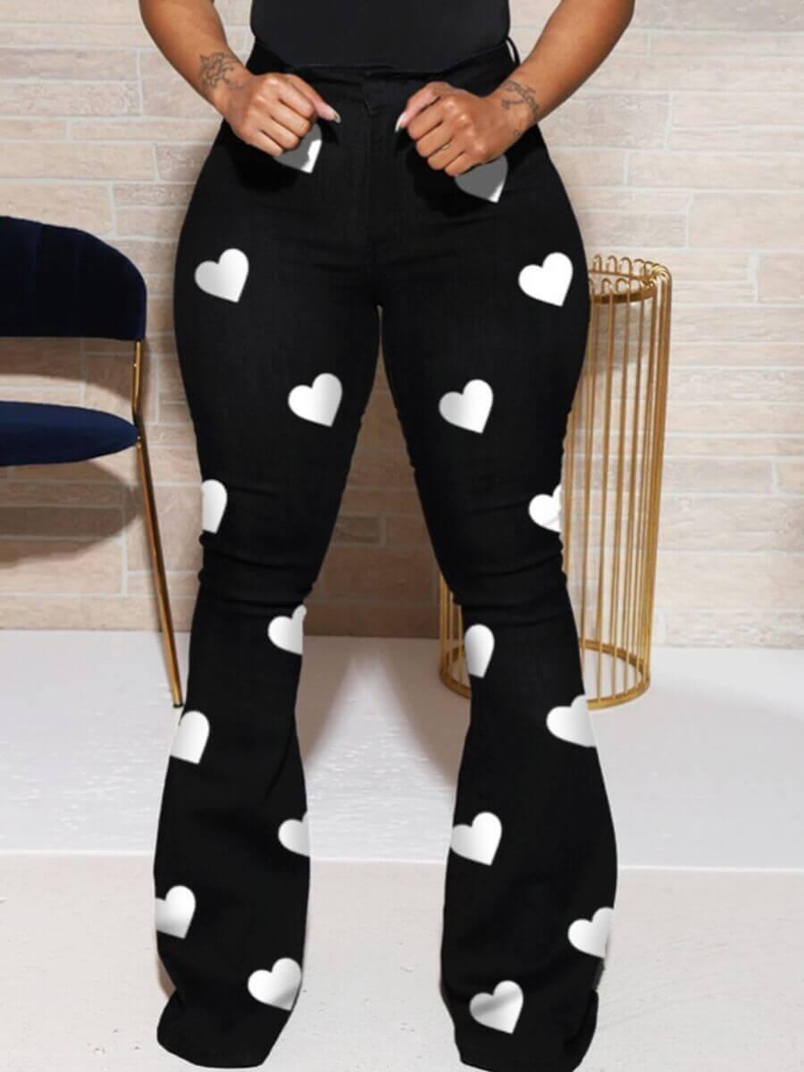 Lovely Plus Size Casual Heart Print Black Pants