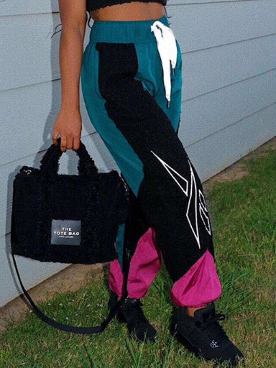 Lovely Street Lace-up Patchwork Black Pants