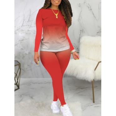 Lovely Casual O Neck Gradient Print Red Plus Size