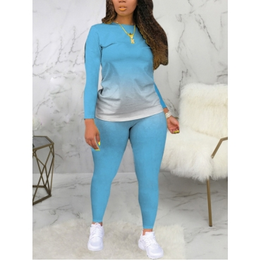 Lovely Casual O Neck Gradient Print Skyblue Plus S