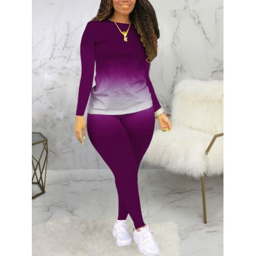 Lovely Casual O Neck Gradient Print Purple Plus Si