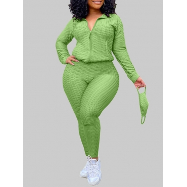 Lovely Casual Turndown Collar Zipper Design Green