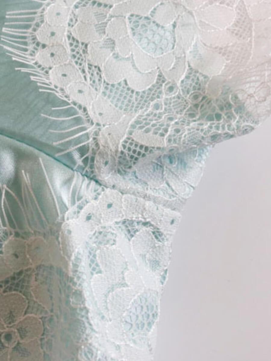 Lovely Spaghetti Strap Lace Patchwork Blue Sleepwe