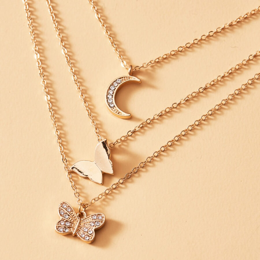 Lovely Stylish 3-piece Gold Necklace