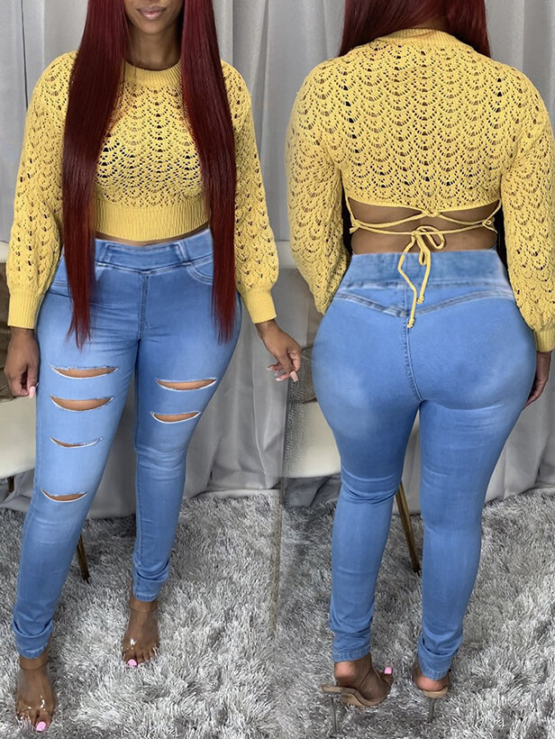 Lovely Trendy High-waisted Ripped Baby Blue Jeans