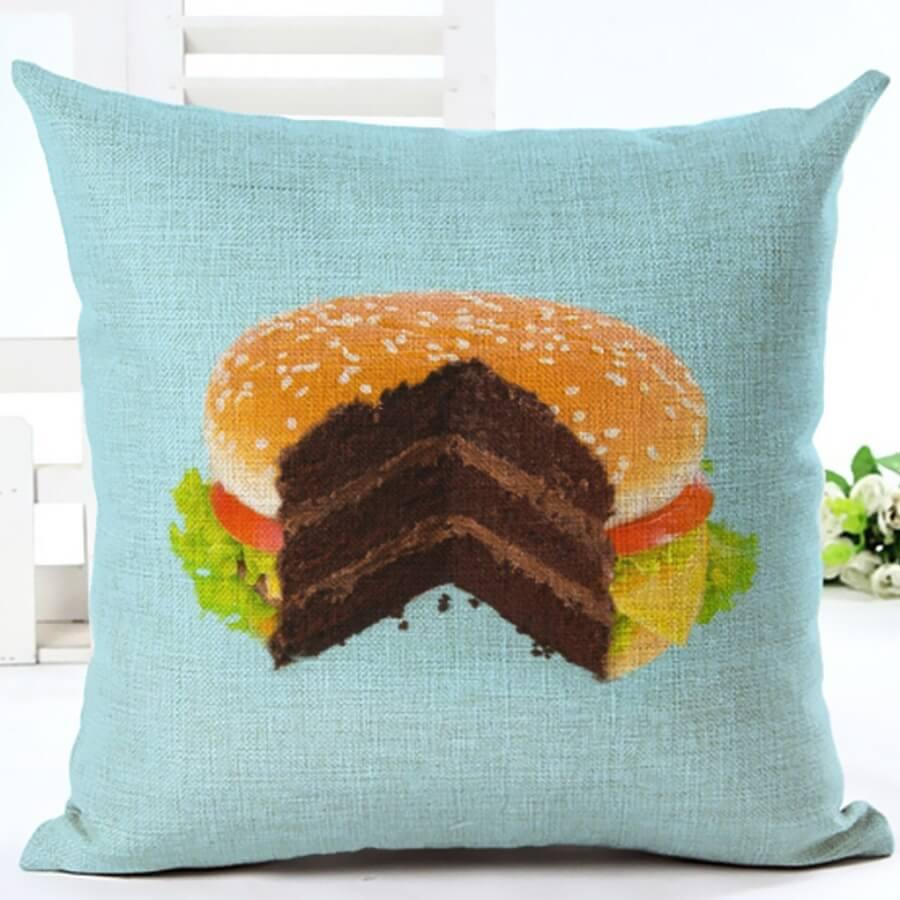 Lovely Burger Print Blue Decorative Pillow Case